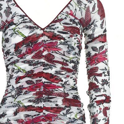 flower pattern shirring detail dress